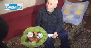 Поздравление ветерана ВОВ Бельц- Сандуляк Г.- с 90 летием