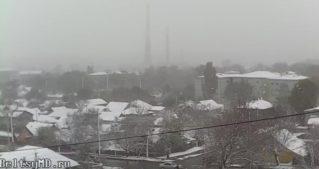 Снегопады в Бельцах 21 апреля 2017
