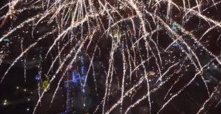 Новогодний салют-2017 в Бельцах с высоты птичьего полета