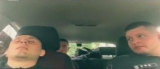 Жестокий розыгрыш спящего на посту полицейского попал на видео