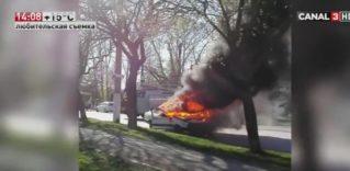 Машина сгорела дотла в Бельцах до приезда пожарных